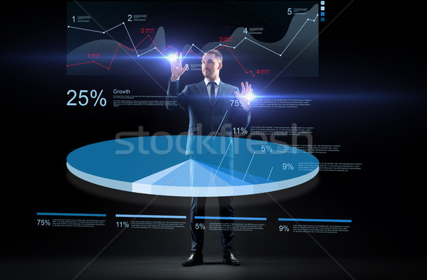 üzletember öltöny dolgozik virtuális kördiagram üzletemberek Stock fotó © dolgachov