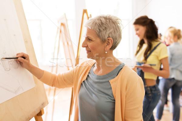 Zdjęcia stock: Kobieta · artysty · farbują · rysunek · sztuki · szkoły