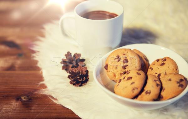 Sıcak çikolata kurabiye kürk halı tatil Stok fotoğraf © dolgachov