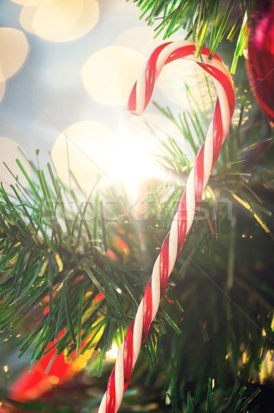 Zucchero di canna candy albero di natale vacanze natale Foto d'archivio © dolgachov