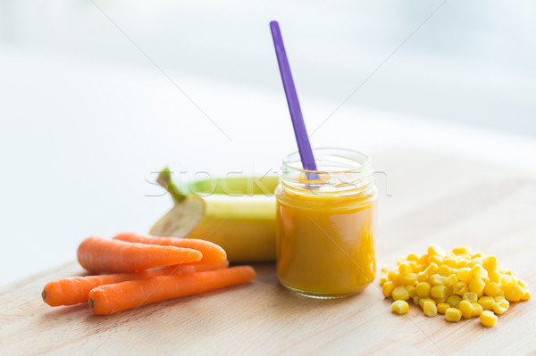 puree or baby food with fruits and vegetables Stock photo © dolgachov