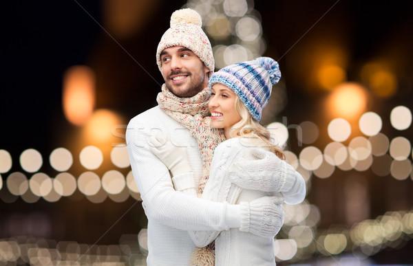 Szczęśliwy para christmas światła zimą Zdjęcia stock © dolgachov