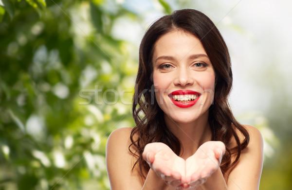 Bella sorridere rossetto rosso bellezza Foto d'archivio © dolgachov