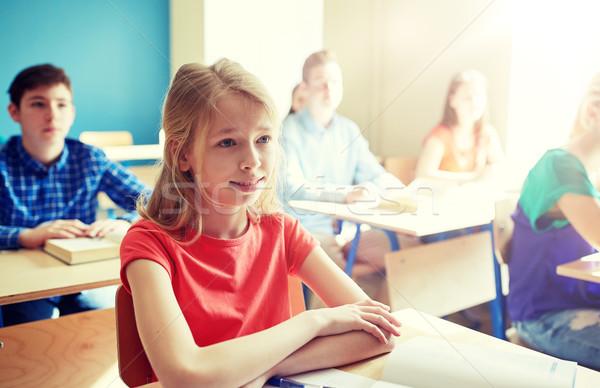 Heureux étudiant fille école leçon éducation Photo stock © dolgachov