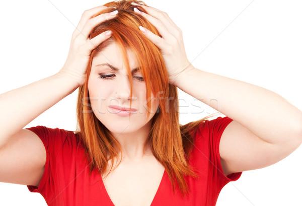 Сток-фото: несчастный · женщину · фотография · белый · печально