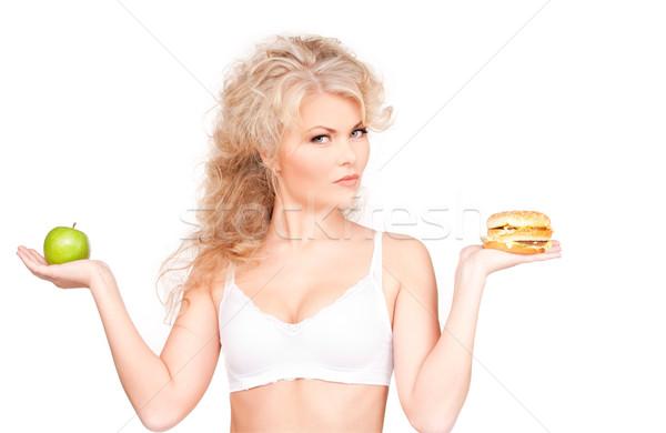 ストックフォト: 女性 · ハンバーガー · リンゴ · 小さな · 美人