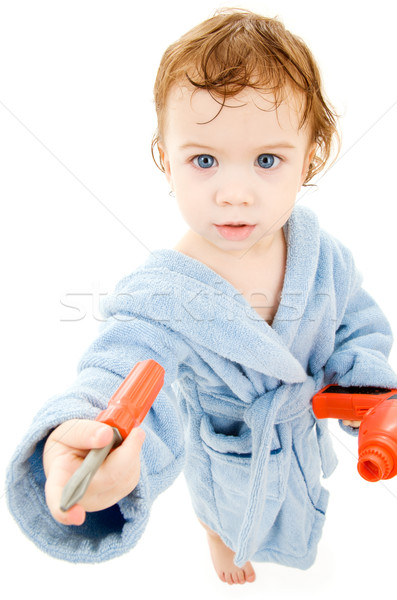 baby boy with toy tools Stock photo © dolgachov
