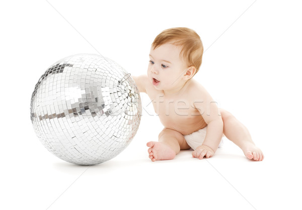 Aanbiddelijk baby jongen groot disco ball witte Stockfoto © dolgachov