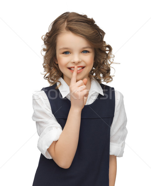 pre-teen girl showing hush gesture Stock photo © dolgachov