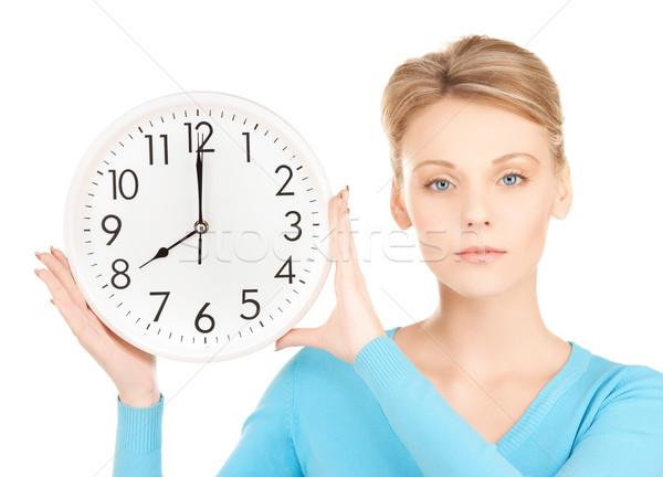Сток-фото: деловая · женщина · стены · часы · фотография · привлекательный · женщину