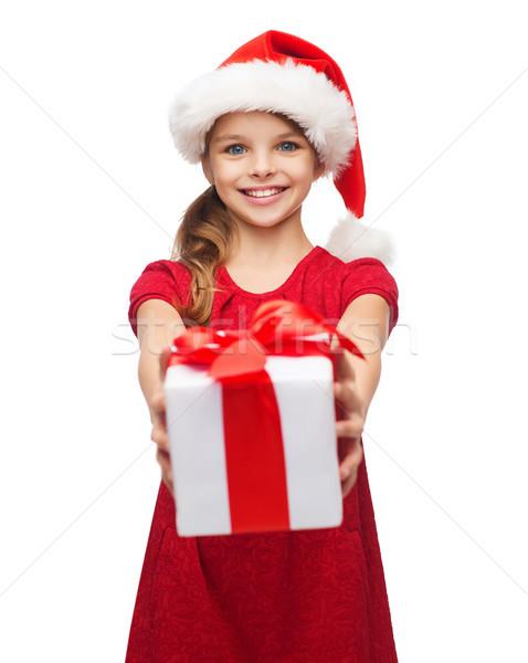 Glimlachend meisje helper hoed geschenkdoos Stockfoto © dolgachov