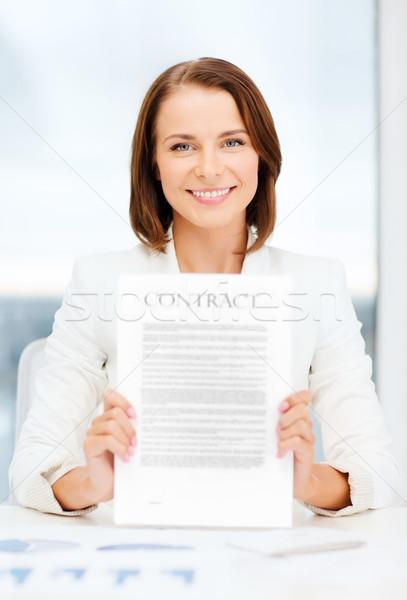 Mutlu işkadını sözleşme iş eğitim Stok fotoğraf © dolgachov