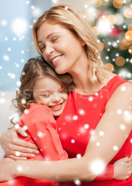 Foto stock: Mãe · filha · natal · inverno