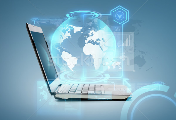 портативного компьютера мира голограмма технологий реклама интернет Сток-фото © dolgachov