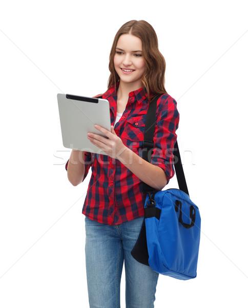 Mosolyog diák táblagép táska oktatás technológia Stock fotó © dolgachov