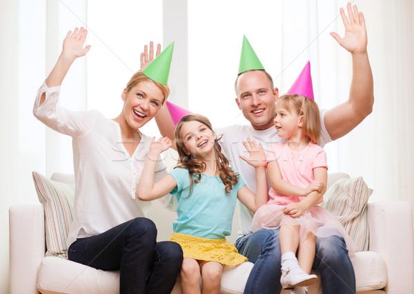 Stok fotoğraf: Mutlu · aile · iki · çocuklar · kutlama