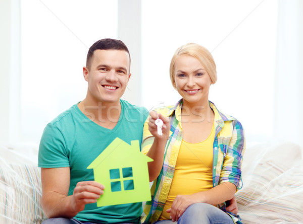 Pár üvegház kulcsok új otthon mozog otthon Stock fotó © dolgachov