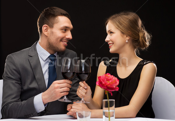 Photo stock: Verres · vin · restaurant · couple · vacances