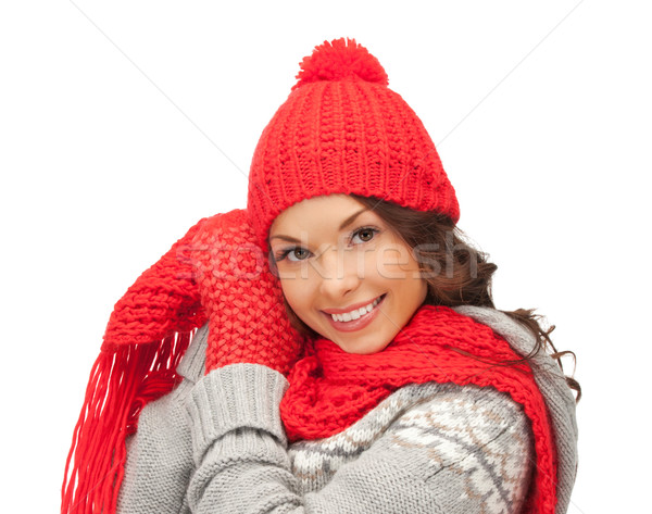 beautiful asian woman in hat, scarf and mittens Stock photo © dolgachov