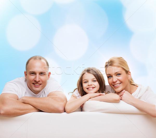 Gelukkig gezin home familie jeugd vakantie mensen Stockfoto © dolgachov
