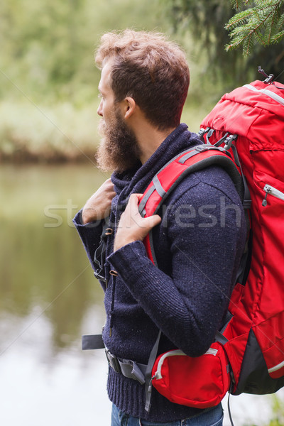 Сток-фото: улыбаясь · человека · борода · рюкзак · походов · Adventure