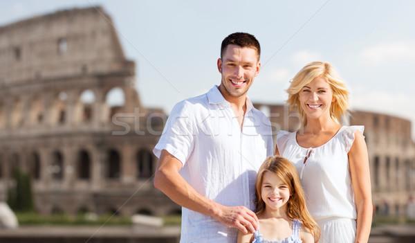 happy family in rome over coliseum background Stock photo © dolgachov