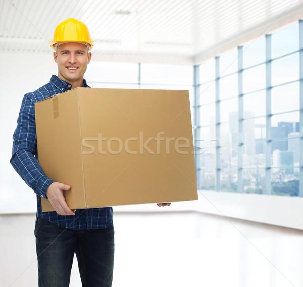 Stockfoto: Glimlachend · mannelijke · bouwer · helm · reparatie