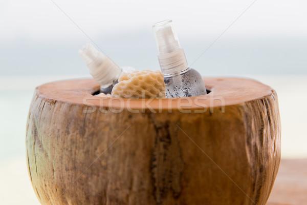 bowl with moisturizing spray at hotel beach or spa Stock photo © dolgachov