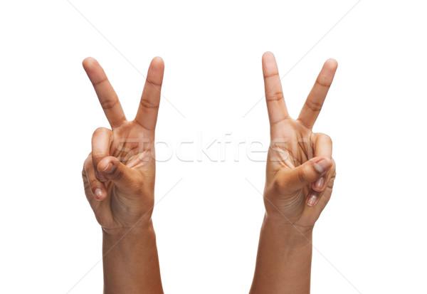 Donna mani gesto parti del corpo divertente Foto d'archivio © dolgachov
