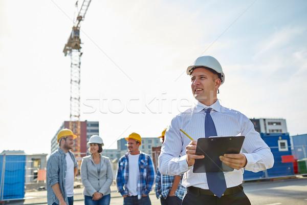 Boldog építők építész építkezés üzlet épület Stock fotó © dolgachov