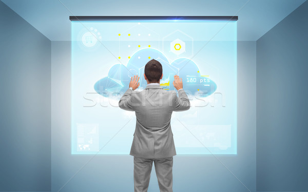 Сток-фото: бизнесмен · рабочих · виртуальный · экране · деловые · люди · технологий