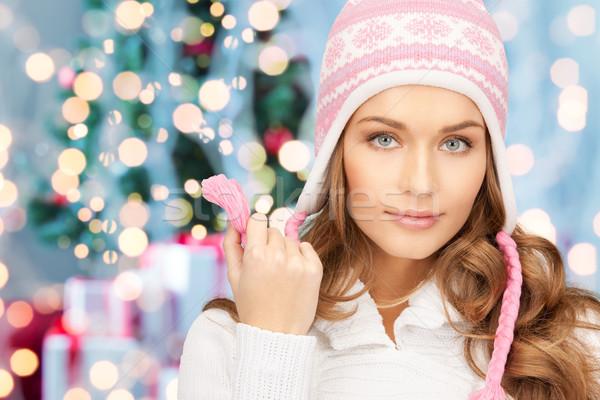 Foto stock: Feliz · mulher · inverno · seis · natal · luzes