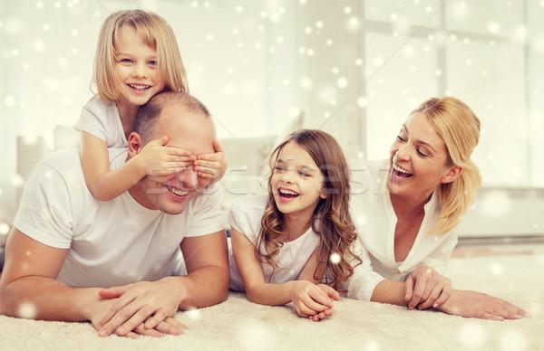 Stok fotoğraf: Gülen · ebeveyn · iki · ev · aile