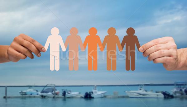 Eller insanlar resim yazı tekneler deniz Stok fotoğraf © dolgachov
