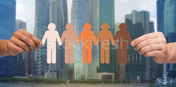 Mãos pessoas pictograma cidade comunidade unidade Foto stock © dolgachov