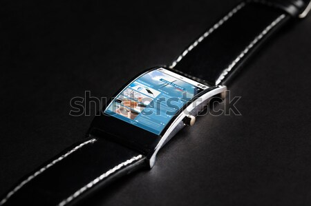 close up of black smart watch with weather cast Stock photo © dolgachov