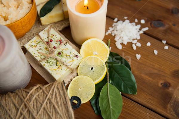 ストックフォト: 自然 · 石鹸 · キャンドル · 木材