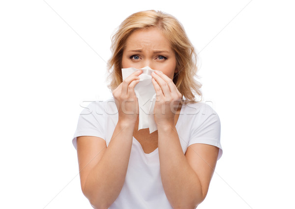 несчастный женщину бумаги салфетку сморкании люди Сток-фото © dolgachov