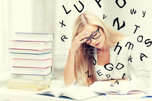 Stock fotó: Diák · könyvek · jegyzetek · köteg · tanul · bent