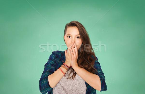 Assustado adolescente estudante menina verde conselho Foto stock © dolgachov