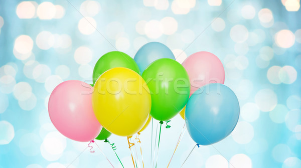 Bos helium ballonnen Blauw lichten vakantie Stockfoto © dolgachov