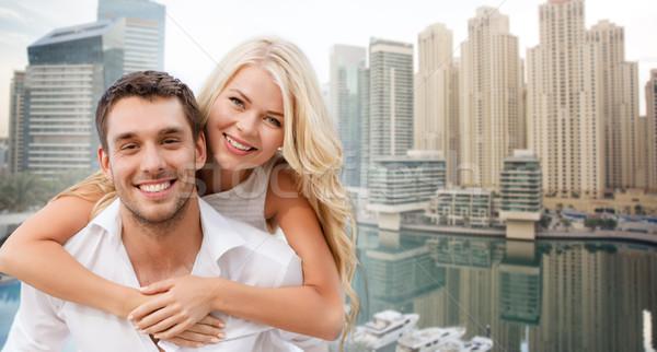 Boldog pár szórakozás Dubai város nyár Stock fotó © dolgachov