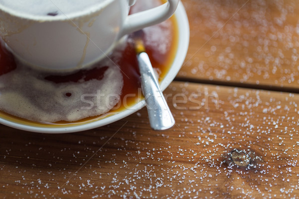close up coffee cup and sugar on wooden table Stock photo © dolgachov