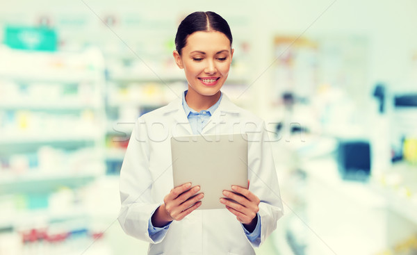 smiling female doctor with tablet pc at drugstore Stock photo © dolgachov