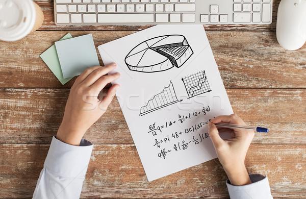 Mains tâche écrit équation affaires Photo stock © dolgachov