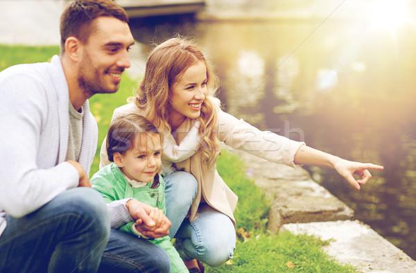 Boldog család sétál nyár park család nevelés Stock fotó © dolgachov
