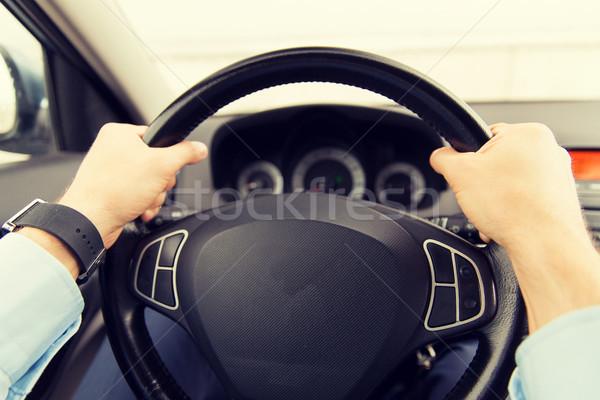 ストックフォト: 若い男 · 運転 · 車 · 輸送 · 出張