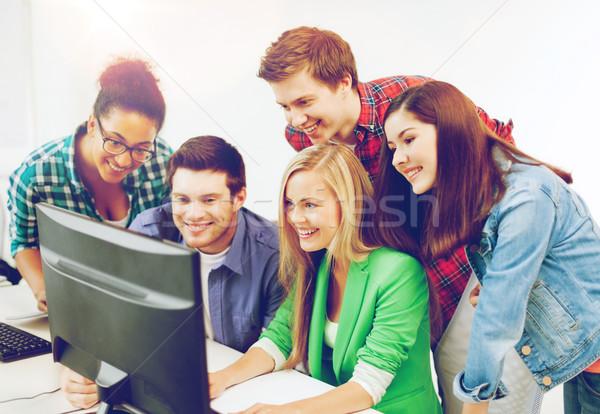 Stockfoto: Studenten · computer · studeren · school · onderwijs · internet