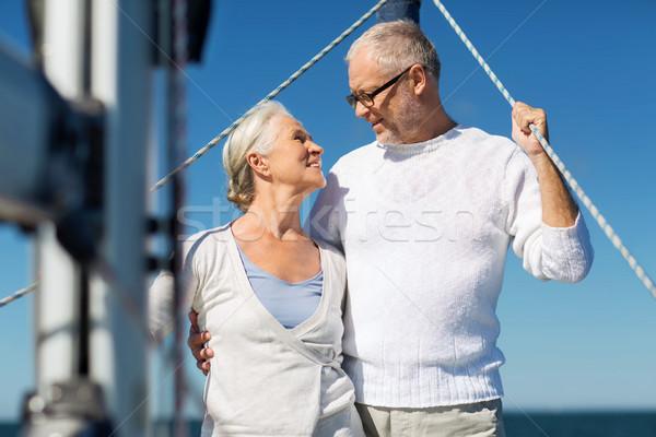 Pareja de ancianos vela barco yate mar Foto stock © dolgachov