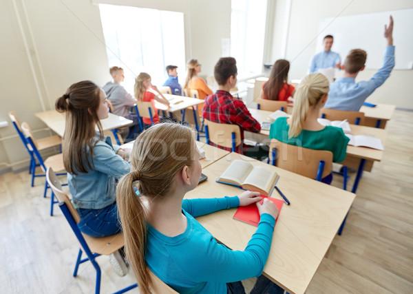 Stock fotó: Csoport · középiskola · diákok · tanár · oktatás · tanít